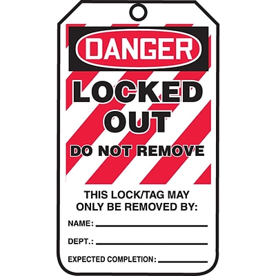 Accuform Signs® 5 3/4 x 3 1/4 PF-Cardstock Lockout Tag DANGER..DO NOT REMOVE, Red/Black On White