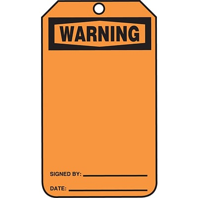 Accuform Signs® 5 3/4 x 3 1/4 Plastic Blank Front & Back Tags WAR.., Black On Orange