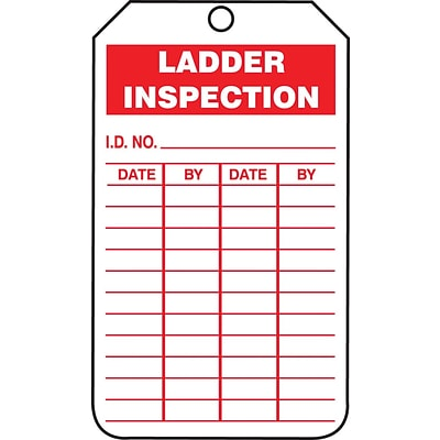 Accuform Signs® 5 3/4 x 3 1/4 RP-Plastic Inspection & Status Tag LADD.., Red On White