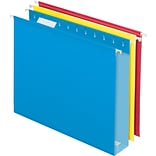 Pendaflex® Box-Bottom Hanging File Folders, Letter, 2 Capacity, Assorted Colors, 12/Box