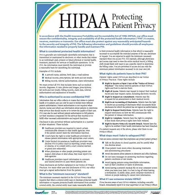 ComplyRight™ HIPAA Protecting Patient Privacy Poster