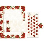 Great Papers® Holiday Stationery Kit Poinsettia Swirl, 25/Count
