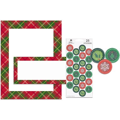 Great Papers® Holiday Stationery Kit Country Plaid, 25/Count