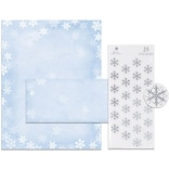 Great Papers® Holiday Stationery Kit Winter Flakes, 25/Count