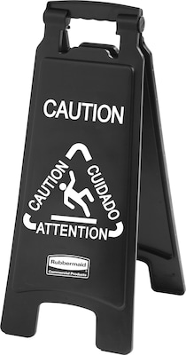 "Rubbermaid® Commercial Executive 2-Sided Multi-Lingual Caution Sign, 10 9/10"" x 26 1/10"", Plastic, Black, Each (RCP 1867505)"