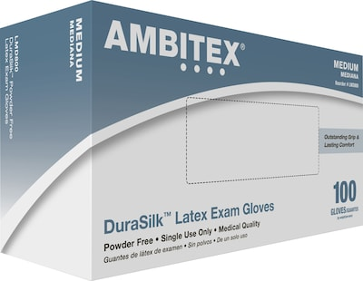 Ambitex(r) DuraSilk(tm) Latex Exam Gloves, Powder Free, Smooth Finish, Medium, 100/Bx