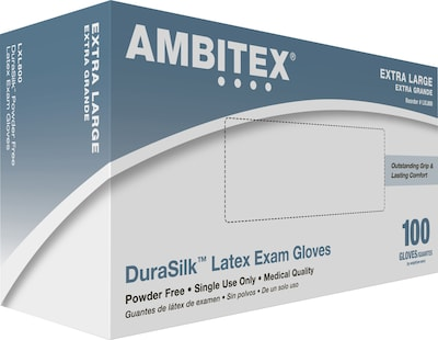 Ambitex(r) DuraSilk(tm) Latex Exam Gloves, Powder Free, Smooth Finish, Extra Large, 100/Bx