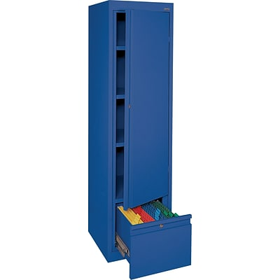 Sandusky 64H Steel Storage Cabinet with 4 Shelves and 1 File Drawer, Blue (HADF301864-06)
