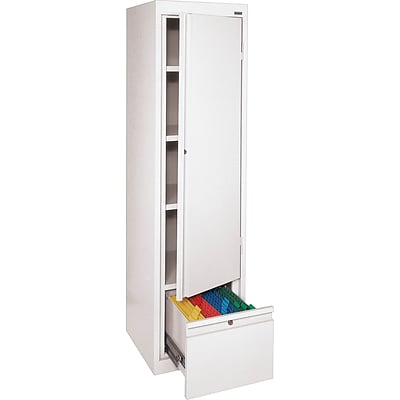 Sandusky 64H Steel Storage Cabinet with 4 Shelves and 1 File Drawer, White (HADF171864-22)