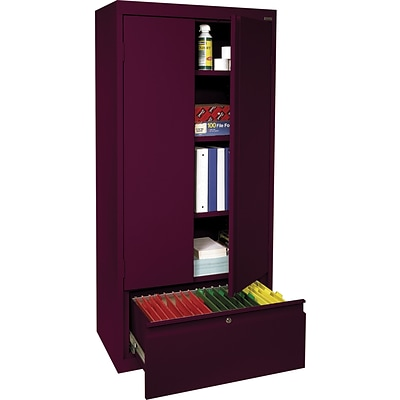 Sandusky 64H Steel Storage Cabinet with 4 Shelves and 1 File Drawer, Burgundy (HADF301864-03)