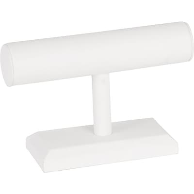 Jewelry T-Bar White Leatherette 7W x 5H