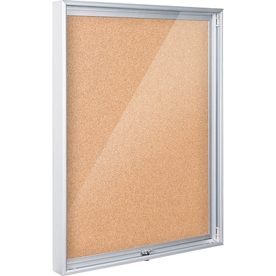 Best-Rite Economy Enclosed 4W x 3H Natural Cork Panel/Aluminum Frame Bulletin Board (94CAC)