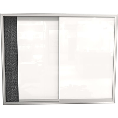 Best-Rite 4x3 Glass Whiteboard Enclosed Bulletin Board Rcycld Rubber-Tak Panel/Alum Frame94SVSC-95