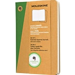 Moleskine Evernote Pocket Soft Cvr Journals w/Smart Stickers, Square Ruled, 3-1/2 x 5-1/2, 2/Pack