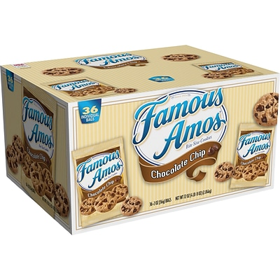 Famous Amos Club Pack, Chocolate Chip Cookies, 2-oz., 36/Case