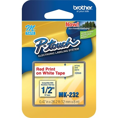 Brother M Series MK232 Label Maker Tape, 1/2W, Red on White