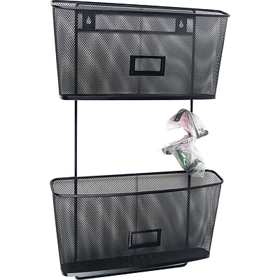 Quill Brand® Black Mesh Coordinating Desk Set; 2 Wall Hanging Files