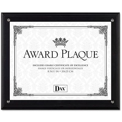 Dax Award Plaque Acrylic and Wood Frame with Certificate, Black, 8 1/2 x 11