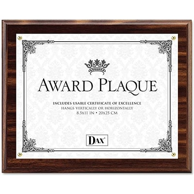 Dax Award Plaque Acrylic and Wood Frame with Certificate, Walnut, 8 1/2 x 11