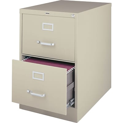Quill Brand® 25 Deep 2 Drawer Commercial Vertical File Cabinet, Legal Size, Putty