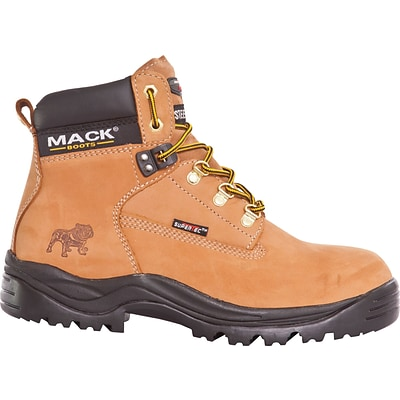 Mack Boots, Bulldog, Mens Steel Toe Work Boot, Leather, Honey, Mid cut, Size 15 (Womens Size 17)