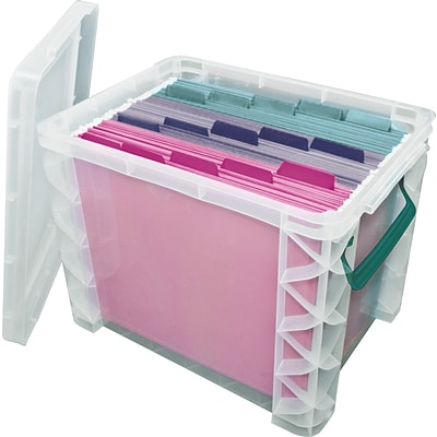 Advantus Super Stacker® Plastic File Box, Clear, 11.25H x 10.5W x 14.5L