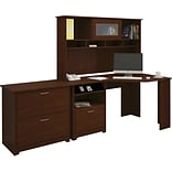 Bush Furniture Cabot Corner Desk with Hutch and Lateral File, Harvest Cherry