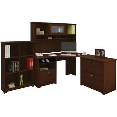 Bush Furniture Cabot Corner Desk with Hutch, Lateral File and 6 Cube Bookcase, Harvest Cherry