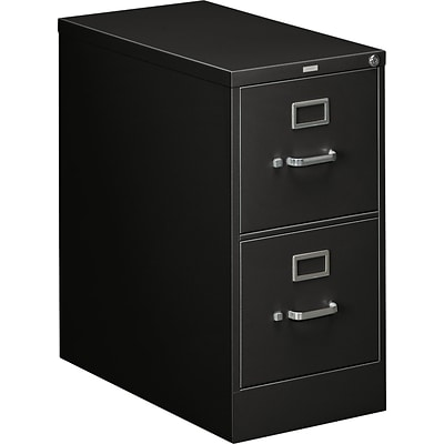 HON® 310 Series Letter Width Vertical File Cabinets, 2-Drawer, Black, 26.5D