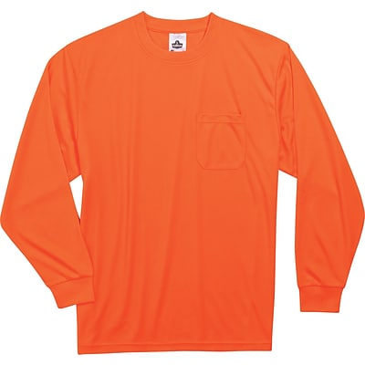 Ergodyne® GloWear® 8091 Non-Certified Hi-Visibility Long Sleeve Safety T-Shirt, Orange, 5XL
