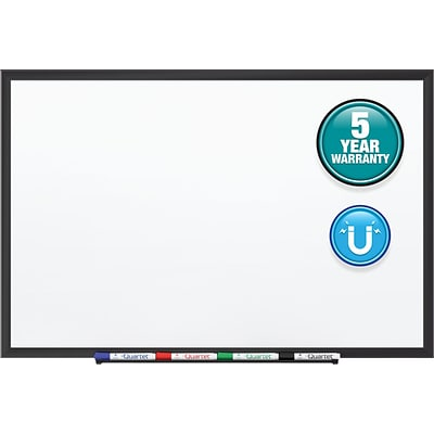 Quartet Standard Magnetic Whiteboard, Black Aluminum Frame, 4 x 3