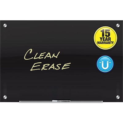 Quartet Infinity™ Glass Magnetic Marker Board, Black, Frameless, 3 x 2 (G3624B)