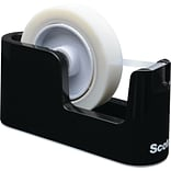 Heavy Duty Weighted Desktop Tape Dispenser, 3 core, Plastic, Black (C-24)