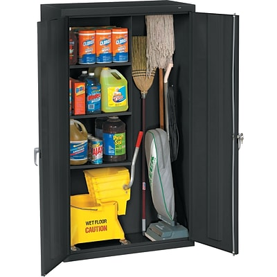 Tennsco® Janitorial Supply Cabinet, Black, 64Hx36Wx18D