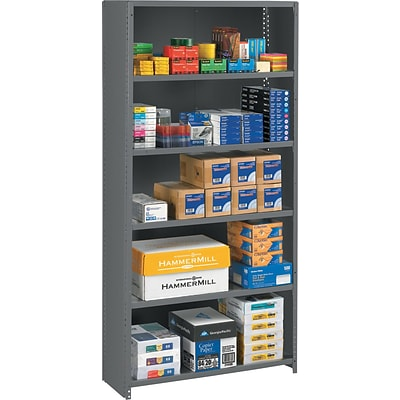 Tennsco® Closed Commercial Steel Shelving, 6-Shelf, Medium Gray, 75Hx36Wx12D