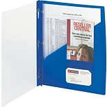 Clear Front Poly Report Cover With Tang Fasteners, 8-1/2 x 11, Blue, 5/Pack (SMD86011)