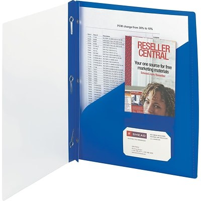 Smead Clear Front Poly Report Cover With Tang Fasteners, 8 1/2 x 11, Blue, 5/Pack (86011)