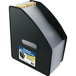 Vertical Expanding File, 13-Pocket, 10 Expansion, Letter, Poly, Black