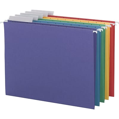 Smead® Adjustable 3-Tab Colored Hanging File Folders, Letter, Assorted, 25/Bx (64020)