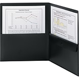 Smead® Letter Poly Two-Pocket Folder With Security Pocket, Black, 5/Box