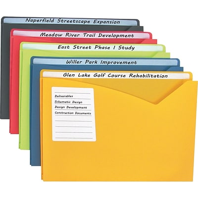 C-Line Write-On Expanding Poly File Folders, 1 Exp., Letter, Assorted Colors, 25/Pack (63060)