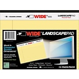 WIDE Landscape Format Writing Pad, 8 x 6, Canary, 40 Sheets/Pad, 1/Pad