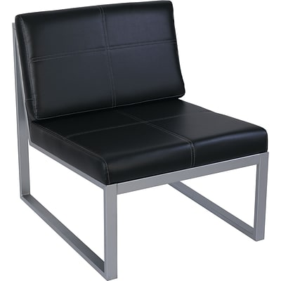 Alera® Reception Lounge Series Chair, Armless, Leather Cube Chair, Black