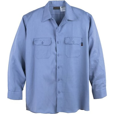 Workrite® Flame Resistant 6.5 oz. Protera Long Sleeve Work Shirt, Medium Blue, Small, Long