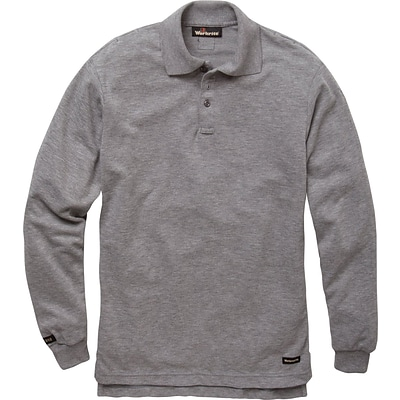 Workrite® Flame Resistant 6.7 oz Tecasafe Long Sleeve Polo, Heather Gray, Medium