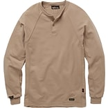 Workrite® Flame Resistant 6.7 oz Tecasafe Long Sleeve Henley Shirt, Khaki, Small