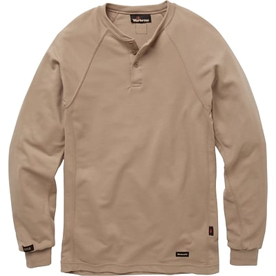 Workrite® Flame Resistant 6.7 oz Tecasafe Long Sleeve Henley Shirt, Khaki, Medium