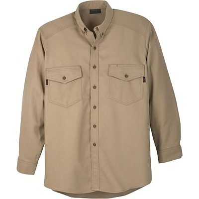 Workrite Flame Resistant 7 oz. UltraSoft Long Sleeve Utility Shirt, Khaki, 3XL, Long