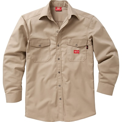 Dickies® Flame Resistant 7 oz. Amtex™ Snap-Front Long Sleeve Shirt, Khaki, Medium, Long