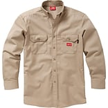 Dickies® Flame Resistant 7 oz. Amtex™ Button-Down Long Sleeve Work Shirt, Khaki, Small, Regular